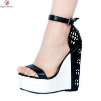 NICE Women Sandals Open Toe Wedges Heels Black&White Shoes Woman Plus Size 4-15