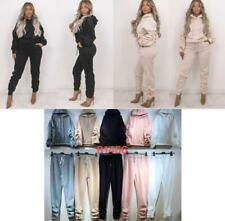 NEW STYLE WOMEN LADIES FLEECE HOODED RUCHED JOGGING TRACKSUIT LOUNGE WEAR SET
