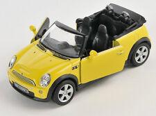 BLITZ VERSAND Mini Cooper S Cabrio gelb / yellow Welly Modell Auto 1:34 NEU OVP