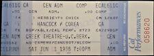 Herbie Hancock & Chick Corea - 1988 - Full & Unused Complimentary Concert Ticket