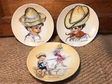 Set of 3 Vintage Retro 1950's Brownie Downing Dishes 10cm Cowboy Farmer Seaside