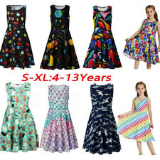 Child Teen Kids Girls Sleeveless Planets Print Dress School Party Flakes Clothes