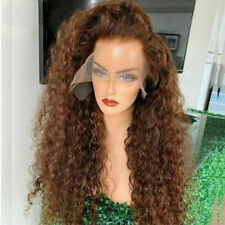 Luxury Lace Front Remy Brown Deep Curly Full Lace Human Hair Wig Auburn Glueless