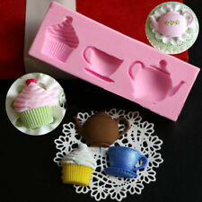 Teapot Cup Cupcake Fondant Silicone Mould Cake Chocolate Sugar Paste Icing Mold