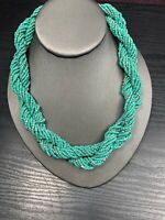 Vintage Wide Woven Twisted Turquoise  Seed Bead Bib Statement Necklace 18""