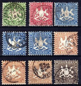 GERMAN STATES: WURTTEMBERG 1863-4 COLOUR CHANGE PERF 10 USED SELECTION, 9 STAMPS