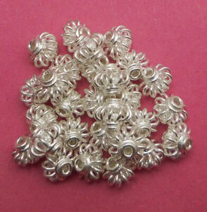 140 PCS 8X7MM  BALI FILIGREE SPACER BEAD ANTIQUE STERLING SILVER PLATED 69 TDH-1