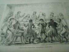 Le Jeu de la roulette estampe Satirique Gravure Old Print 1881