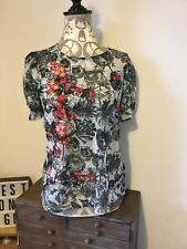 Next Petite Ladies Womens Grey Mix See Thru Short Sleeved Top Size 10