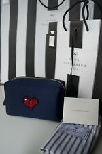 NEW AUTHENTIC ANYA HINDMARCH HEART MAKE UP POUCH /CLUTCH SATIN HEART BAG €395