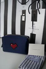 Nuevo Auténtico Anya Hindmarch Corazón Maquillaje Bolsa/Embrague Bolsa de Satén Corazón € 395