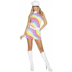 Go Go Girl Costume Adult 60s 70s Disco Halloween Fancy Dress Outfit