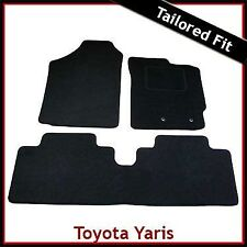 Toyota Yaris Mk2/XP90 2006-2011 a medida Alfombras coche tapetes negro
