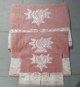 Embroidered Cotton Towel Set 3Pcs Rose.