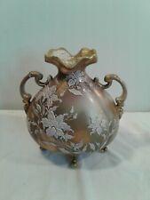 Nippon hand Painted Moriage Footed Ewer Vase ( Leaf Mark)