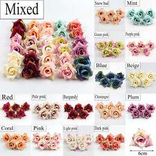 10/100 X 6cm Artificial Silk Rose Flowers Heads Buds Petals Bouquets Craft Decor