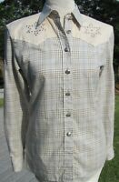 Escada beige/blue plaid button down Western blouse. Long sleeves. SZ 6/34.