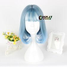30CM Lolita Light Blue Wavy Short Ombre Fashion Cosplay Japan Wig Thin Bang Bob