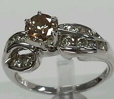 14k white gold with champagne color diamond  solitaire engagement wedding 1.36ct