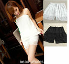 Beige and Black Sexy Ladies Short Sweet Cute Crochet Tiered Lace Shorts Skirts