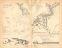 1874 Aufdruck ~ Beispiel Von Fortress& Plan Angriff ~ Fortification Trench