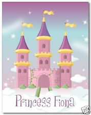 Fairy Castle Personalized Wall Art Print for Girls Baby Nurseries Room Decor