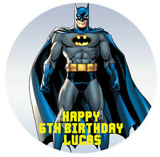 1 x Batman 19cm round personalised cake topper edible image