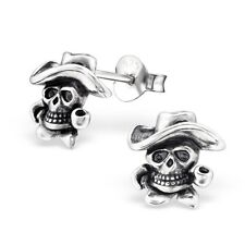 Sterling Silver 925 Detailed Skull Stud Earrings