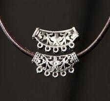 2 X Conectores de fianza Grande Flor De Plata Tibetana Fabricación de Joyería Collares