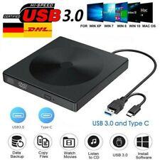 Externes DVD Laufwerk USB 3.0 Brenner Slim CD DVD-RW Brenner für Mac PC Laptop