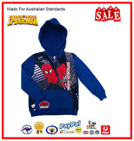 GENUINE AUS LICENSED-Kids Boys Spiderman Hooded Fleece Zip Jacket-SALE