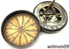 Vintage brass pocket Sundial TIMER BUSSOLA