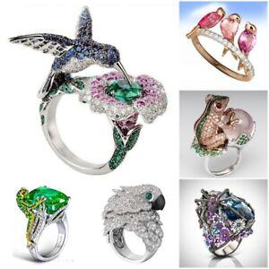 Handmade Animal 925 Silver Owl Bird Frog Emerald Sapphire Ring Wedding Jewelry