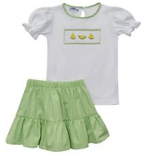 Girls SILLY GOOSE smocked lemon outfit 4 4T NWT lime green skirt t shirt gingham