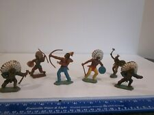 VTG CRESCENT TOYS NATIVE AMERICAN INDIAN BRAVES LOT, 6 FIGURES, HAND PAINTED