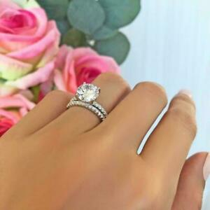 4.00 CT White Round CZ Engagement Ring Full Eternity Band Set in 925 Silver