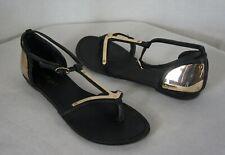 Zigi Girl Shoes Sandals Size 7 Black Gold Metallic