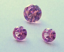 Cubic Zirconia Round Brilliant Cut Set of 3 Stones -  Pink Color. 10 mm and 7mm