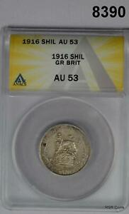 1916 GREAT BRITAIN ONE SHILLING ANACS CERTIFIED AU53 #8390