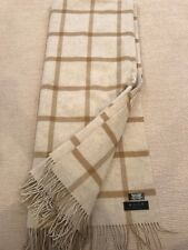 MOON Lambswool & Cashmere -Throw Blanket - Windowpane Beige - Made in UK