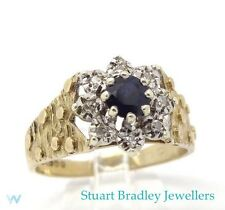 Vintage Sapphire & Diamond Cluster Ring  |  Size - UK O 1/2 - US  7 1/2