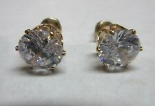 Earrings Cubic Zirconia Solitaire 1 kt Stud Gold Hypoallergenic Post NWT BVG 184