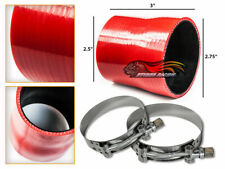 """RED Silicone Reducer Coupler Hose 2.75""""-2.5"""" 70 mm-63 mm + T-Bolt Clamps CH"""