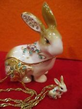 62180 Easter Rabbit Bejeweled Enamel Trinket Box & Necklace