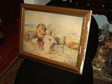 Antike Gemälde handgemalt Aquarell Wasserfarbe Religion mit Tieren 1920-30 Bild