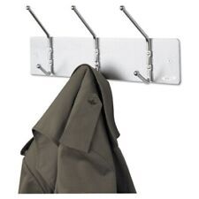 Safco Wall Rack, Three Ball-Tipped Double-Hooks, Metal, Satin Aluminum (Saf4161)