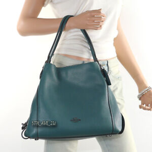 NWT Coach Edie 31 Pebble Leather Shoulder Bag Hand Bag 57125 Dark Turquoise New