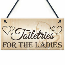 Shabby & Chic Wedding Sign Toiletries For Ladies Bride Plaque Bridesmaid Gift