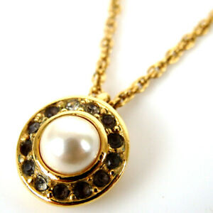 Authentic Christian Dior Fake pearl rhinestone round vintage Necklace metal[...