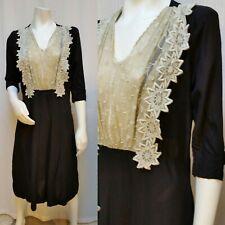 Vintage 1940s BLACK RAYON DRESS with Floral Mesh Trim - Size L - Gorgeous!